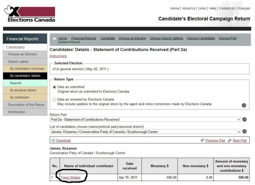 Roxanne James Elections Canada Donation