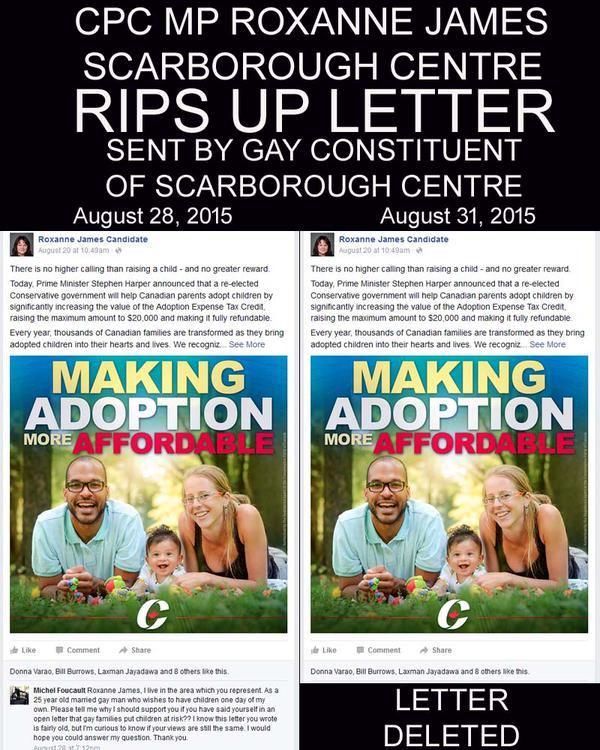 Roxanne James RIPS UP LETTER sent by gay constituent of Scarborough Centre