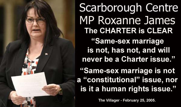 Roxanne James says Bill C-51 is charter compliant but Gay Marriage IS NOT